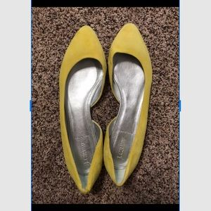 Yellow J. Crew Audrey Flats in Suede